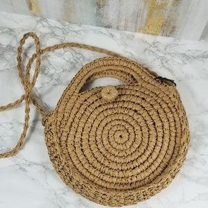 Handbags - Circle Wicker Bag Tan Crossbody